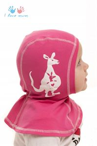 Picture of Knitwear Helmet Hat  bright pink with a kangaroo