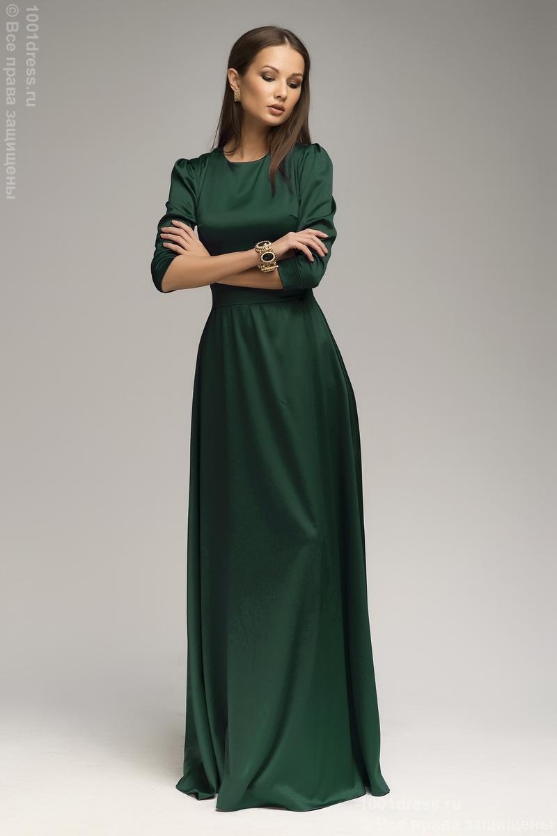 Платье изумрудное длины макси