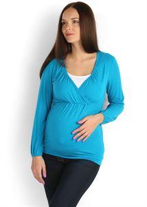 """Obrazek Bluzka """"Luann"""" turkus dla kobiet w ciąży i karmiących"""