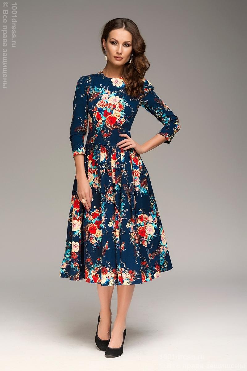 платье 219 темно-синее с цветами длины миди УралМама