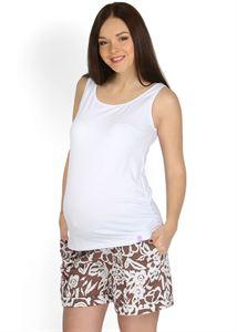 """Изображение Шорты """"Лисбет"""" коричневые с цветами  2 в 1 для беременных, обычные"""