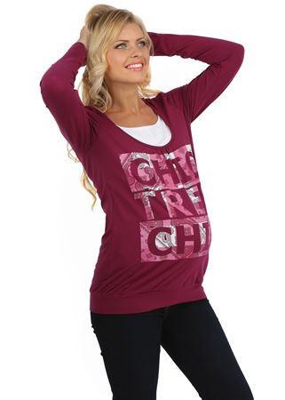 """Изображение Лонгслив """"Габия"""" пурпурный для беременных и кормящих"""