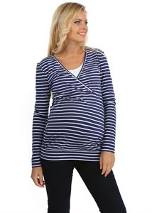 """Bild von """"Phoebe"""" Umstandspullover/Stillpullover blau in Streifen"""