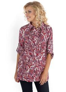 """Изображение Блуза """"Аврора"""" бордовый орнамент для беременных и кормящих"""