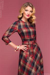 Bild von Kleid DM00442RG Länge Maxi,Farbe Rot-Smaragd kariert Mit 3/4 Ärmeln