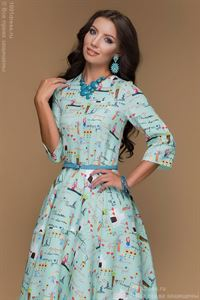 Picture of Dress DM00399MN mint color MIDI length with a print and 3/4 sleeve