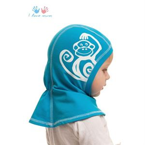Picture of Knitwear Helmet Hat turquoise with a monkey