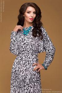 """Изображение Платье DM00246BK черно-белое длины макси с пышной юбкой и рукавом """"летучая мышь"""""""
