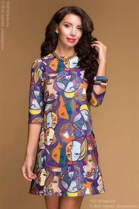 Изображение Платье DM00483PP фиолетовое длины мини с принтом