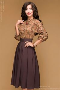 Picture of DM00234BR chocolate dress length MIDI with a printed top and a batwing sleeve