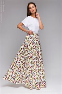 "Picture of DM00430WH white skirt Maxi length print ""birds"""