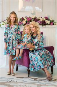 Изображение Участвует в акции! Платье детское DM20008LB с голубыми и розовыми цветами