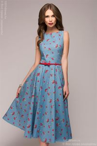 """Picture of DM00532B blue dress length MIDI with print """"cherry"""""""