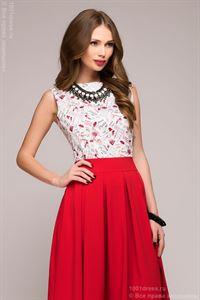 Изображение Платье DM00373RD красное длины миди со светлым принтованным верхом без рукавов