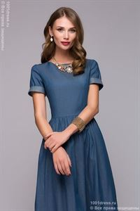 Picture of DM00618BL Dress blue denim Maxi length with short sleeves