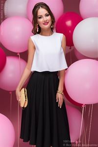 Picture of DM00403BK a Set of black MIDI length skirt and white crop top
