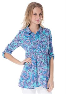 """Picture of Blouse """"Aurora"""" blue maternity and nursing"""