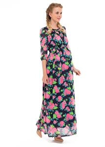 "Picture of ""Lucretia"" Maternity blue dress with roses"