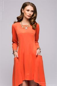 Picture of DM00600OR dress orange tiered with long sleeves