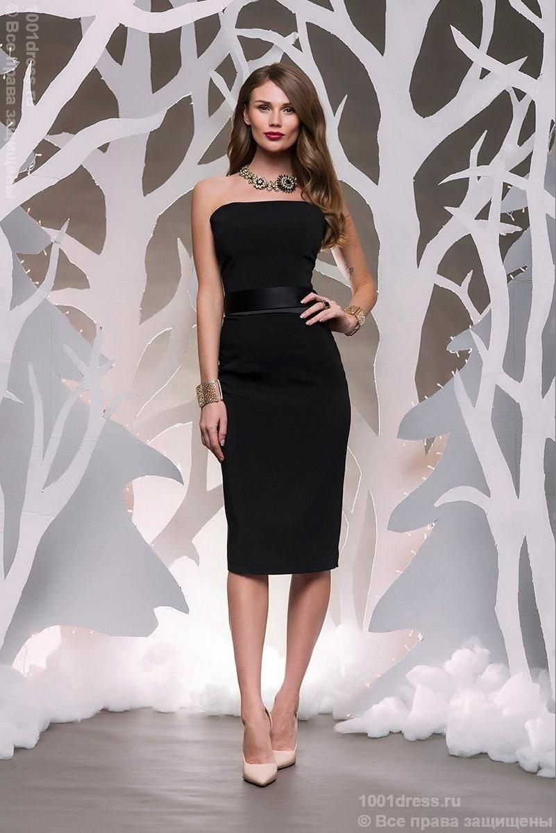 9c0542e6227 Изображение Платье DM00070BK черное длины миди с атласным поясом