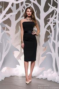Изображение Платье DM00070BK черное длины миди с атласным поясом