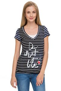 Picture of Maternity and nursing T-shirt Darsi in dark blue with white stripes