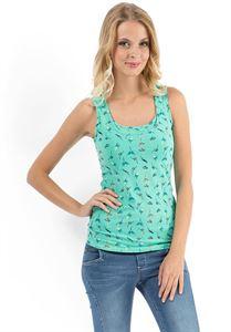 """Bild von MH01 """"Klassische"""" Stillunterhemd grüne mit Vögeln"""