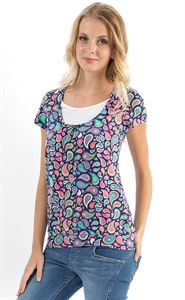 Picture of Agnes maternity and nursingT-shirt in dark blue with peisly