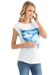 """Изображение Футболка """"Кристина"""" белая с чайками для беременных"""