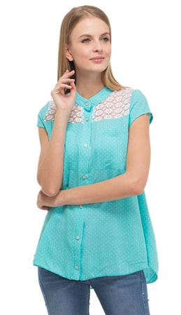 """Изображение Блузка """"Адель"""" для беременных и кормящих; цвет: ментол/горошек"""