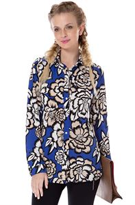 """Picture of Blouse """"Arhelia"""" Cornflower-blue with flowers maternity and nursing"""