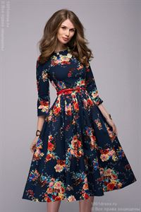 Picture of DM00219BL dress dark blue with flowers print MIDI length