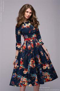 Bild von DM00219BL Kleid Dunkelblau mit Blumen-Print, Midi-Länge