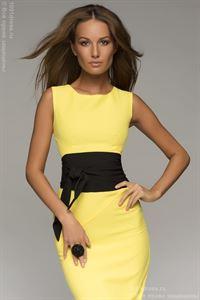 Изображение Платье  DM00056YL желтое с черным поясом длины мини