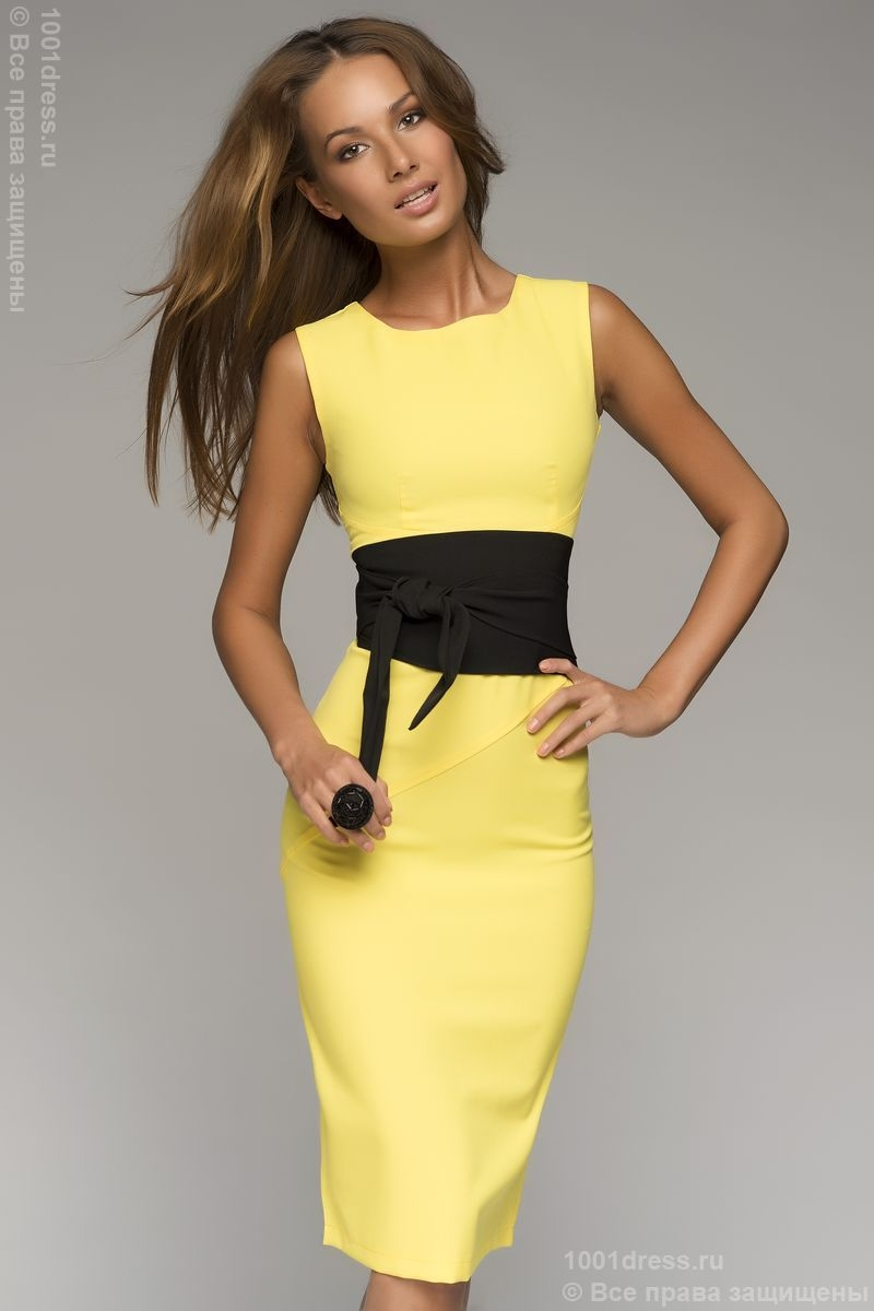 Yellow dress black belt