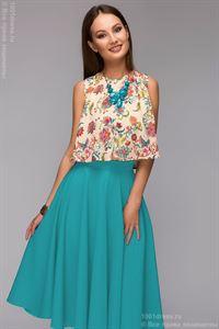 Obrázek Komplet DM00403TE sukně barvy mořské vlny midi a krop-top s květyïnovým vzorem