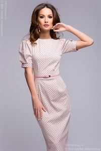 Picture of Dress DM00364PK pale pink Swiss dots with short sleeves
