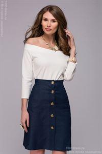 Bild von Bluse DM00740VA Farbe Vanille mit offenen Schultern und 3/4 ärmeln