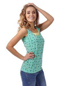 """Bild von """"Gretta"""" Umstandsunterhemd/Stillunterhemd; Farbe: Smaragd/Vögel"""