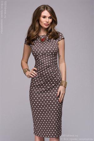 Изображение Платье DM00204BR кофейное в горошек c драпировкой на талии