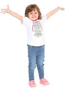 """Obrazek Koszulka dziecięca """"I love mum"""" biała różnobarwną z sową"""