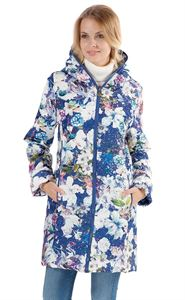"""Obrázek Bunda mezisezonní """"Olivia"""" bílé květy na modrém"""