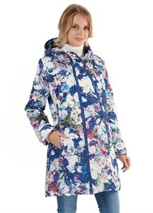 """Изображение Куртка  Демисезонная 2в1 """"Оливия"""" белые цветы на синем для беременных"""