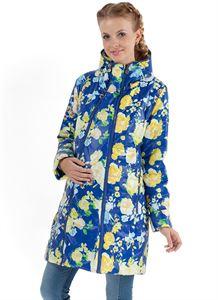"""Изображение Куртка  Демисезонная 2в1 """"Оливия"""" желтые цветы на синем для беременных"""