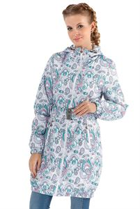 """Picture of Jacket demi 3in1 """"Voila"""" Paisley turquoise on white for pregnant women and babywearing"""