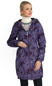 """Picture of Jacket demi 3in1 """"Voila"""" pattern on the eggplant for pregnant women and babywearing"""