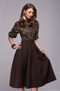 Picture of Dress DM00234BD dark brown MIDI length with a printed top and a batwing sleeve