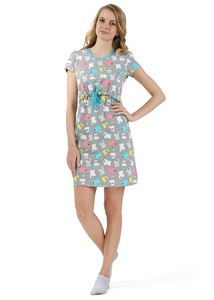"Picture of ""PH04"" Maternity  and nursing home dress; colour: grey with bears"