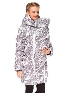 """Изображение Зимняя куртка 3в1 """"Исландия"""" Цветы на белом"""