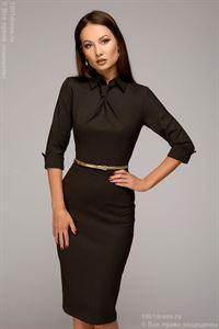 Bild von Kleid DM00455CE Hard Case, Braunes Tupfen, Midi-Länge, Mit der Imitation der Krawatte.